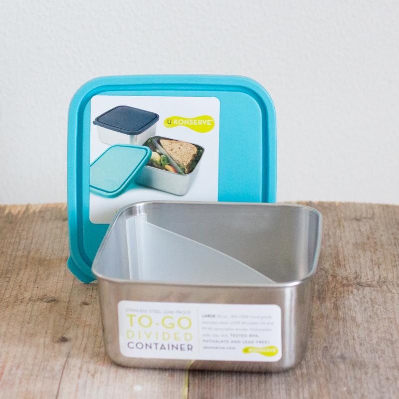 RVS Lunchtrommel met divider groot U Konserve broodtrommel lunch werk salade lekvrij BPA-vrij