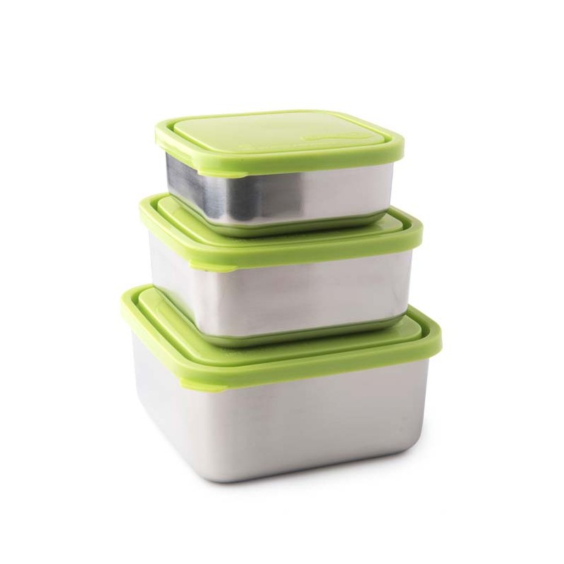Set van 3 RVS lunchtrommels U Konserve lekdicht lekvrije broodtrommel RVS bpa-vrij lunch salade