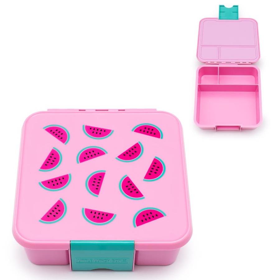 Little Lunch Box Watermeloen roze Bento Three lunchtrommel kopen verschillende vakken meisjes school veilig BPA vrij siliconen