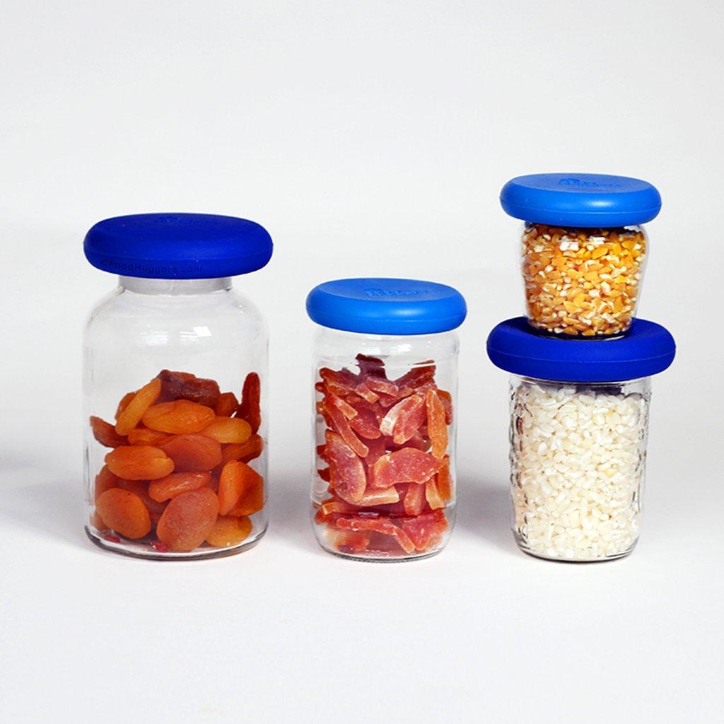 Grote Food Huggers set van 4 blauw afsluiten glazen pot zonder deksel