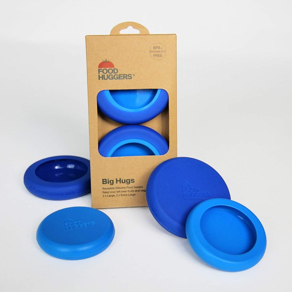 Grote Food Huggers set van 4 blauw lang bewaren grapefruit sinaasappel appel koelkast keuken