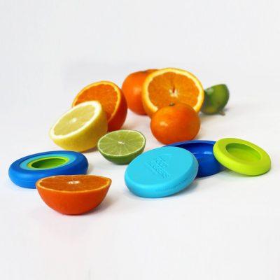 Kleine Food Huggers set van 6 groen blauw langer bewaren fruit citroen limoen mandarijn koelkast
