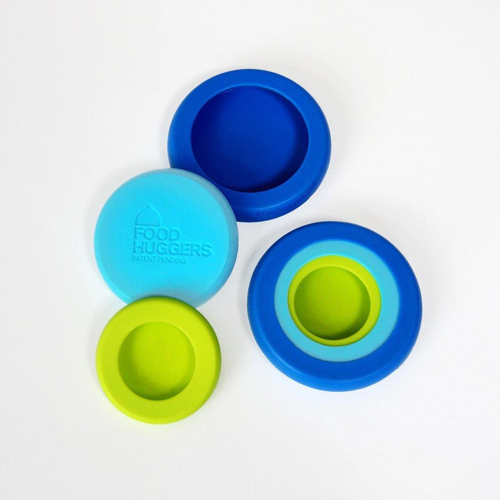Kleine Food Huggers set van 6 groen blauw bewaren komkommer citroen limoen keuken