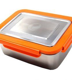 ECOtanka grote lunchbox oranje RVS lunchtrommel stevig groot lunch vakjes