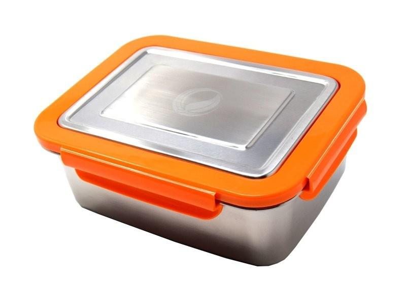 ECOtanka lunchbox oranje RVS lunchtrommel stevig groot lunch vakjes