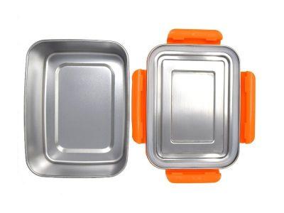 ECOtanka grote lunchbox oranje RVS lunchtrommel stevig groot lunch vakjes lekvrij broodtrommel
