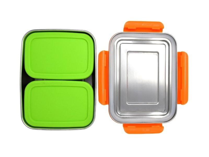 ECOtanka lunchbox oranje RVS lunchtrommel stevig groot lunch vakjes lekvrije broodtrommel met pocketbox