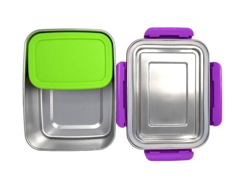 ECOtanka lunchbox paars grote RVS lunchtrommel broodtrommel met pocketboxen