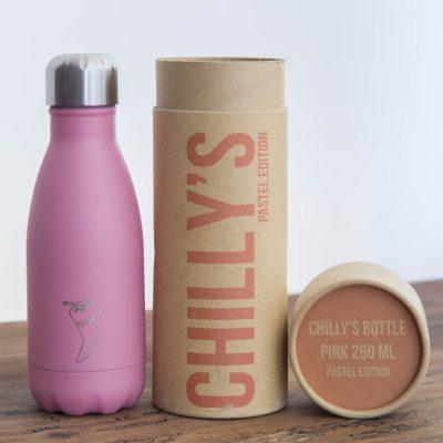 Chilly's bottle pastel pink roze 260 ml kleine waterfles lekdicht